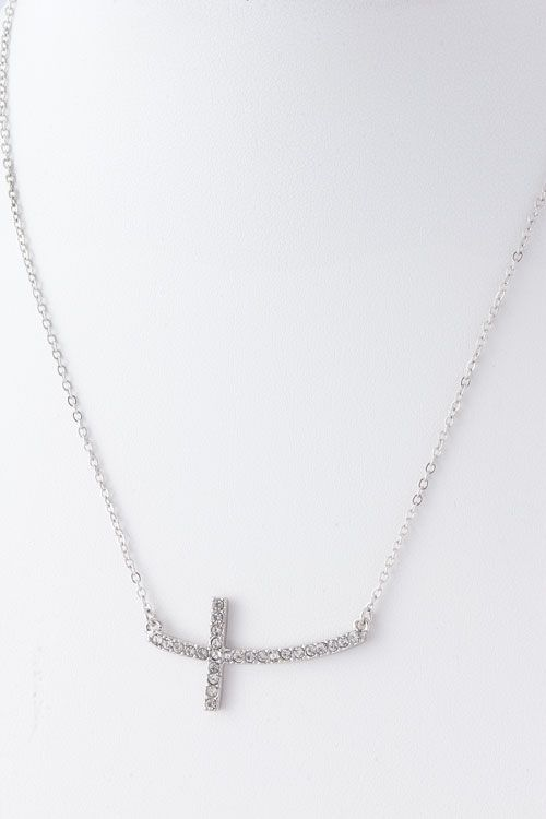 5093bd7e65346 Silver Crystal Side Cross Necklace | Emma Stine Jewelry Bracelets ...