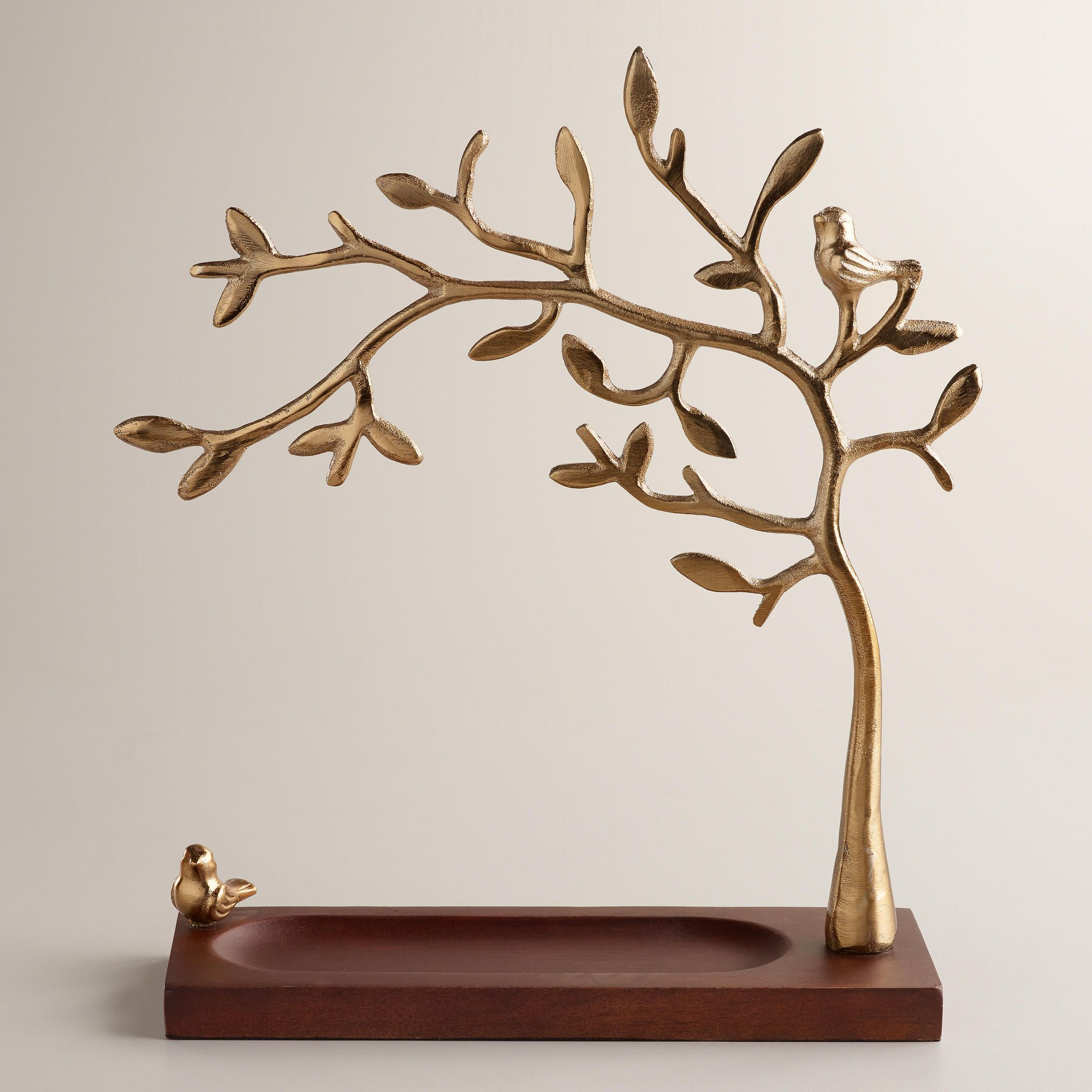 Jewellery Stand Designs : Gold tree jewelry stand with wooden base world market