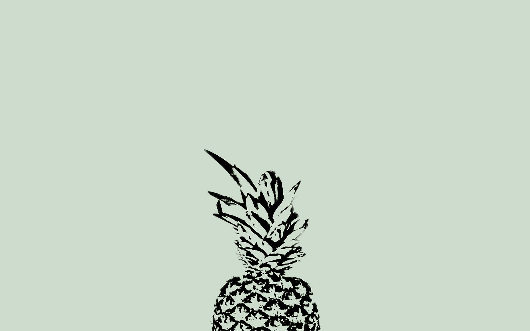 Minimal pastel sage green black pineapple desktop ...