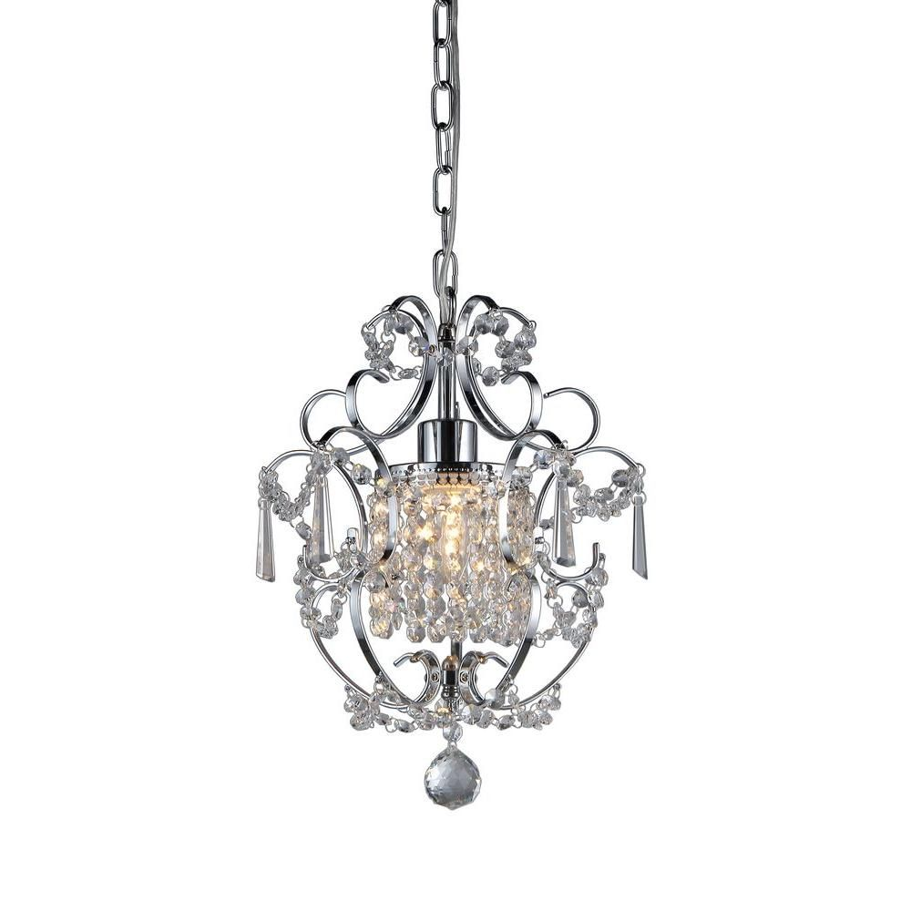Warehouse Of Tiffany Veronica 1 Light Silver Crystal Indoor Hanging Chandelier Rl4025 Warehouse Of Tiffany Crystal Pendant Lighting Iron Chandeliers