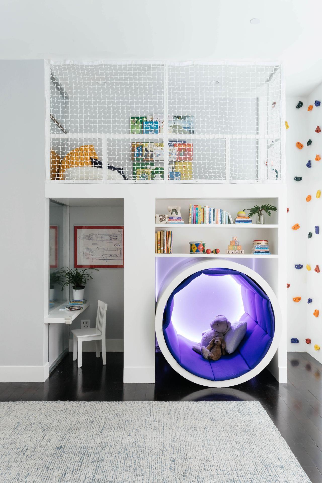 Boys Bedroom Ideas Toddler Small Immagine Cameretta Moderno Ragazzo Con Pareta Da Arrampicata E Soppalco Spazio Perfetto Per Attività Sportive