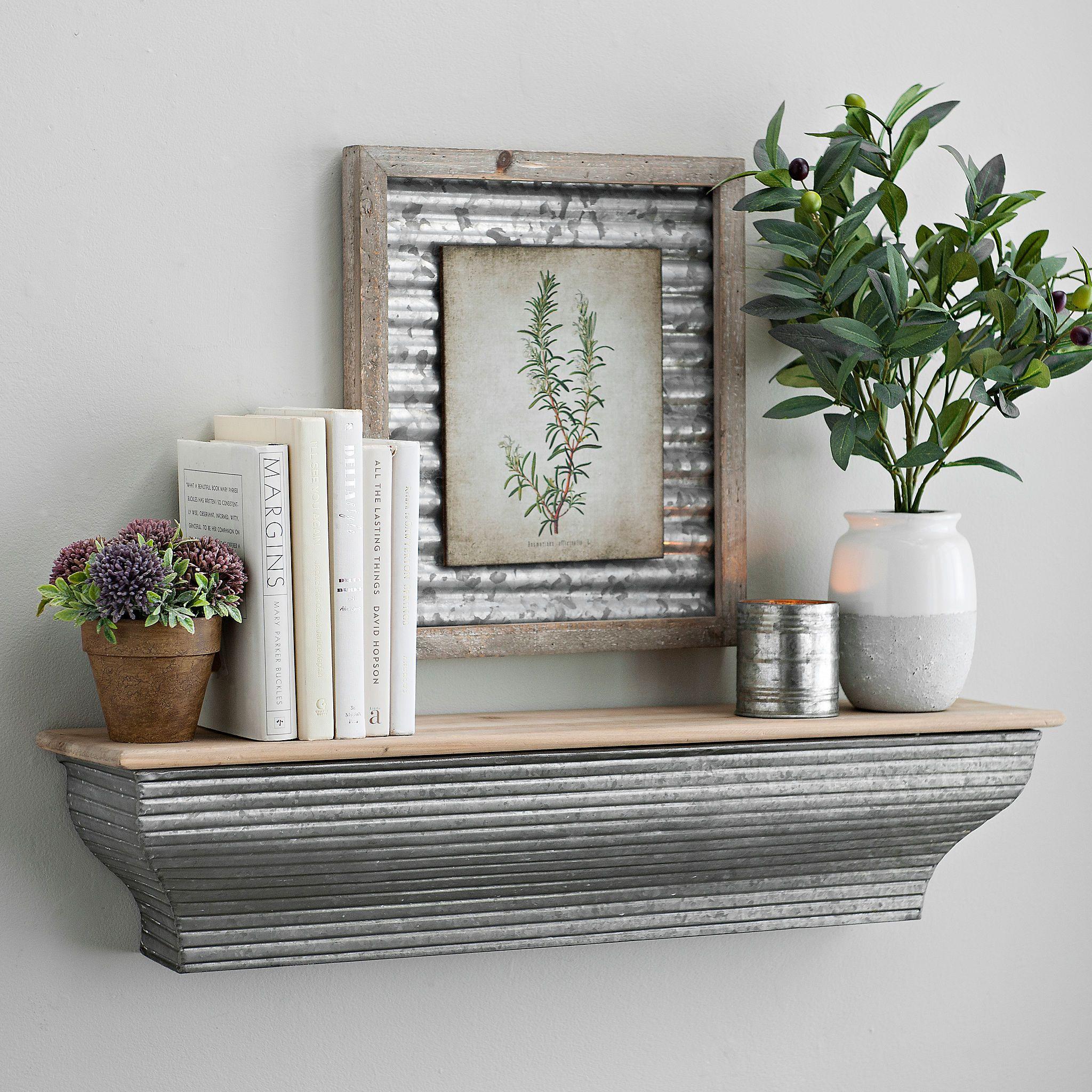 Galvanized Metal Wall Shelf 29 In Kirklands Galvanized Decor Corrugated Metal Wall Metal Wall Shelves