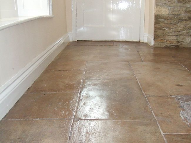 Old Cotswold Flagstone Floor Cleaned Grouted And Polished Floor Restoration Flagstone Flooring Flooring