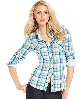 GUESS? Top, Adison Long-Sleeve Plaid Shirt - Womens Tops - Macy's ...