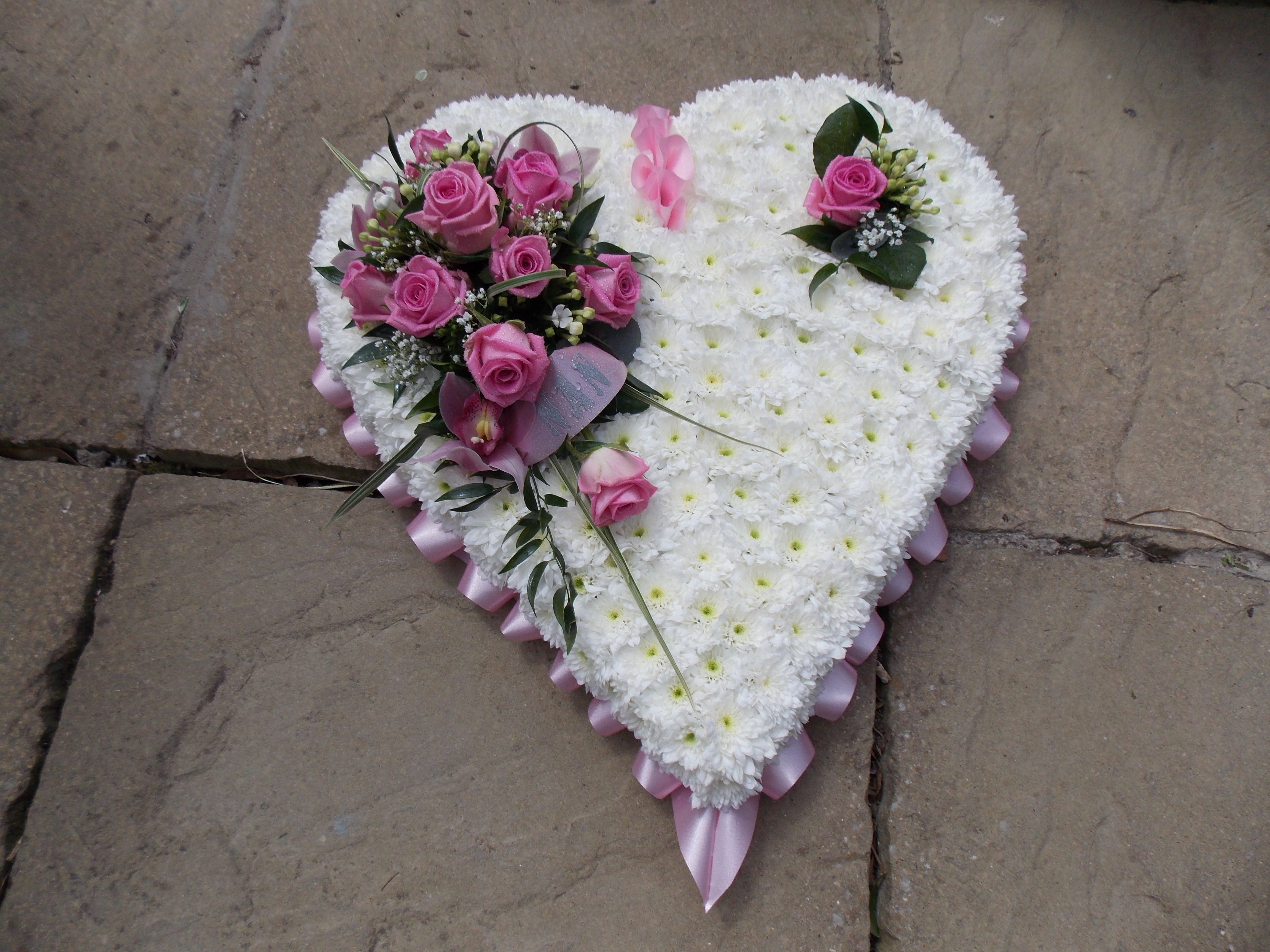 Pink White Heart Funeral Tributes Pinterest Funeral Flowers