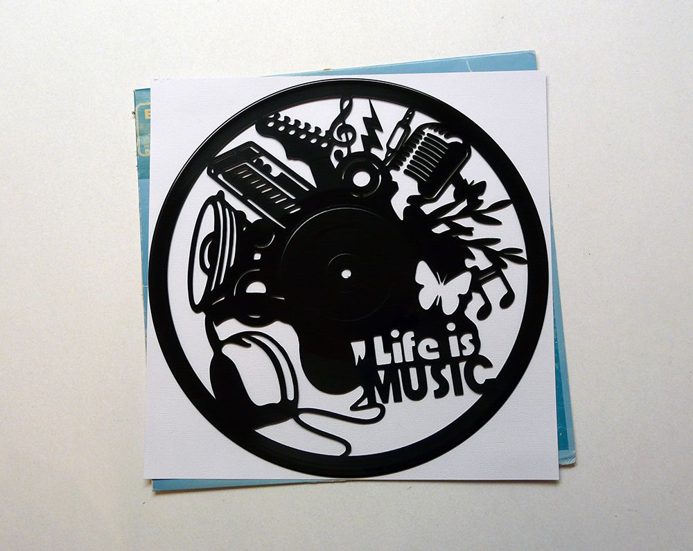 Life Is Music Vinyl Record Art Wall Hanging Old Vinyl Records - New Unique Art - NZ Made