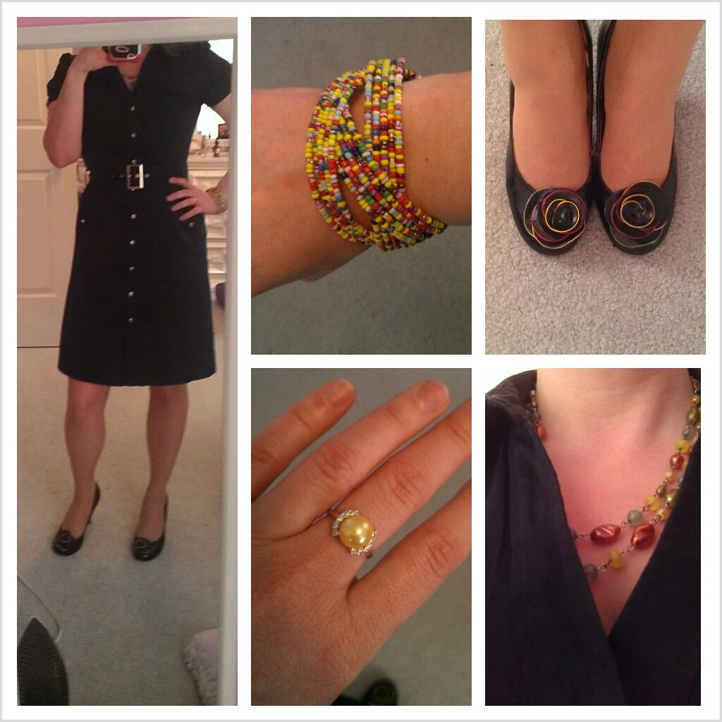 Swap party results!  Little black dress, colorful, beaded jewelry.