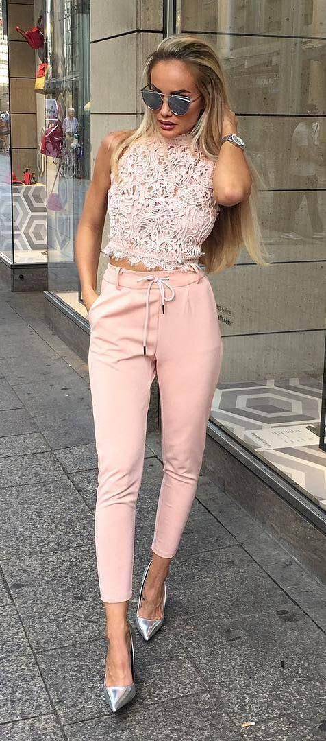 8ec157bc49a37 cool pink outfit idea top + heels + pants