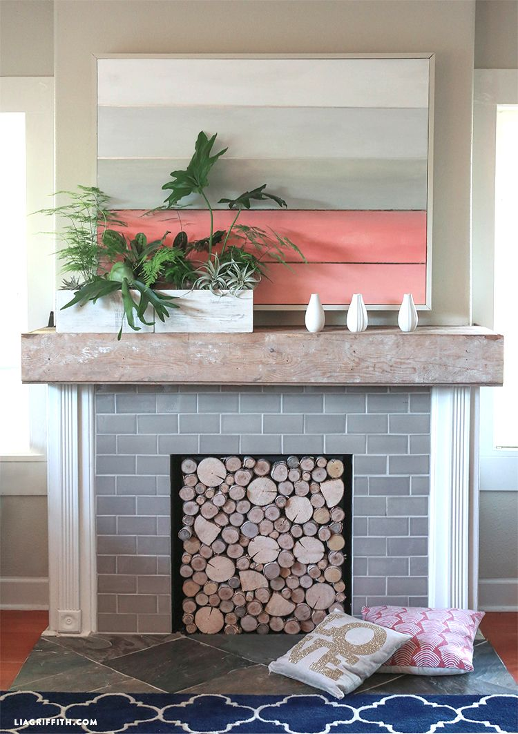 Diy Birch Wood Fireplace Cover Fireplace Cover Wood Fireplace