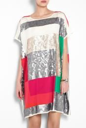 DKNY  Short Sleeve Sequin Shift Dress by DKNY