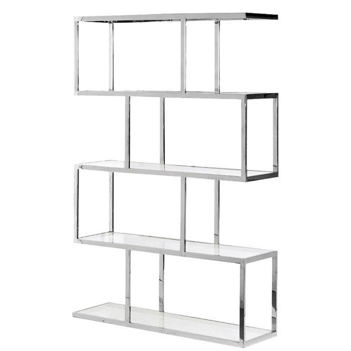 Modernes Bücherregal modernes bücherregal aus glänzendem chrom mit glaseinsätzen