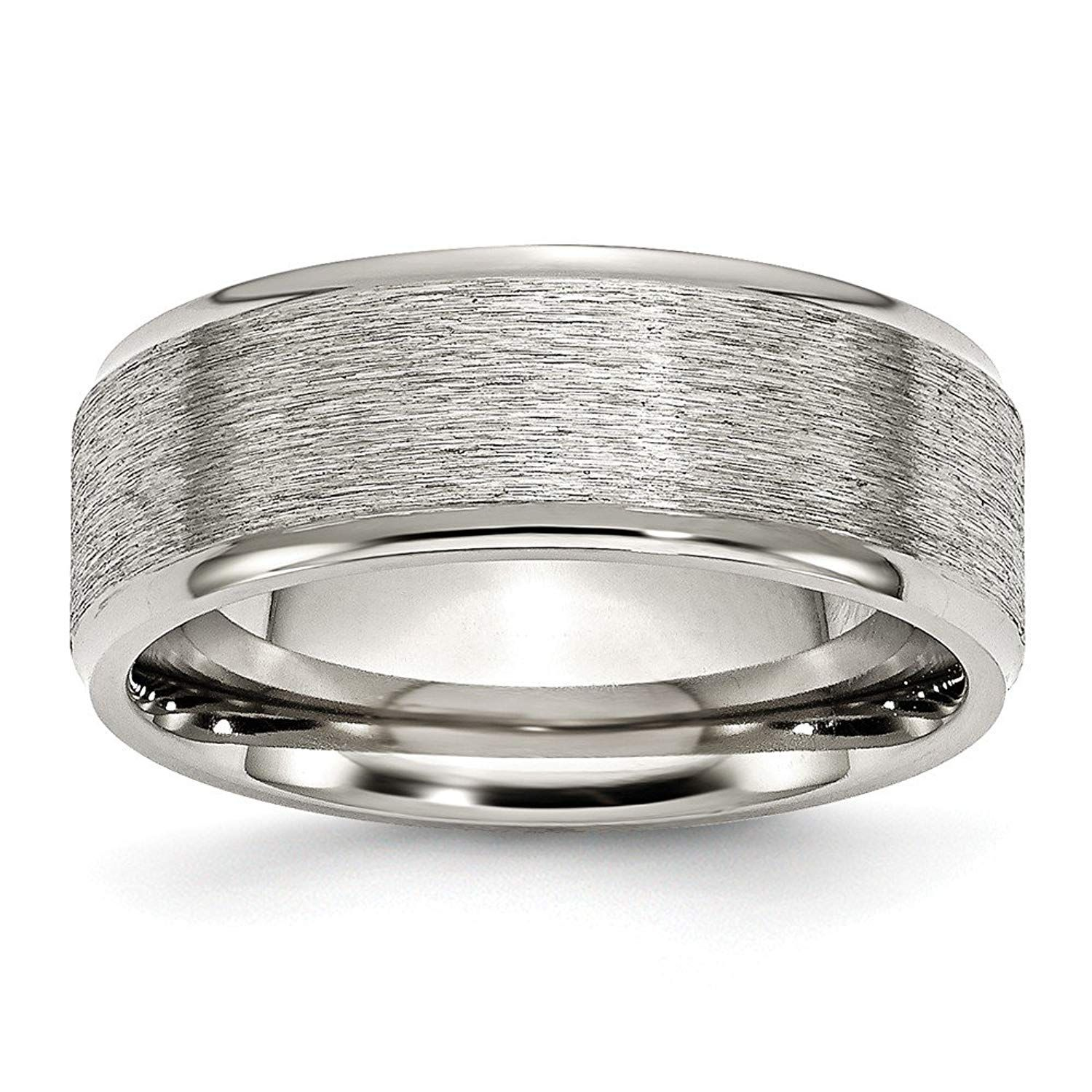 Perfect Jewelry Gift Stainless Steel Ridged Edge 8mm