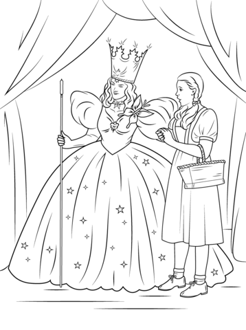 Dorothy With Glinda The Good Witch Of The North Coloring Page Free Printable Coloring Pages Witch Coloring Pages Wizard Of Oz Color Coloring Books