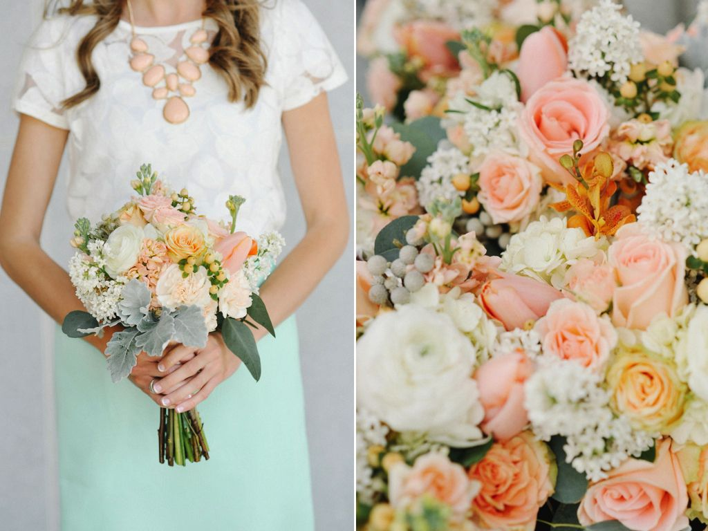 Peach White Mint Green Wedding Flowers Utah Calie Rose Rebekah Westover Photography