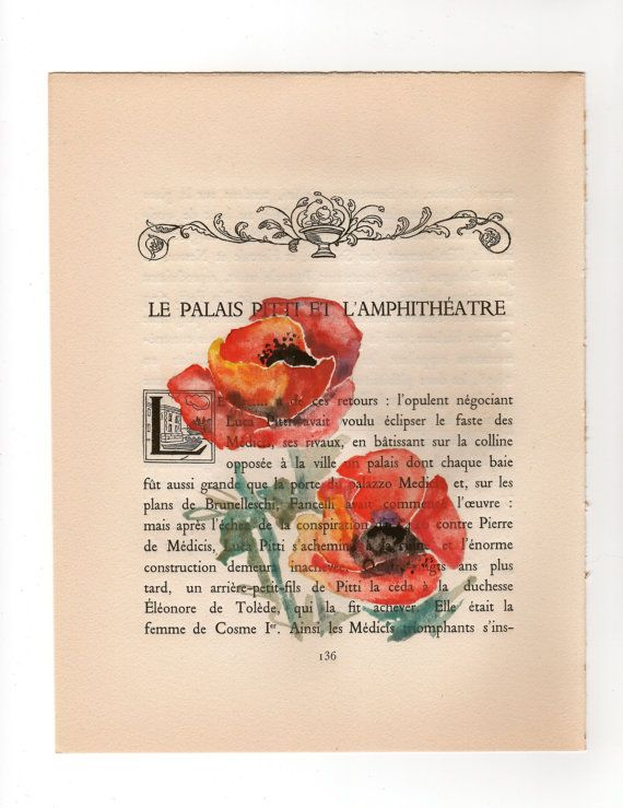 Poppy Original Watercolor Painting On Old Book Page By Milkfoam