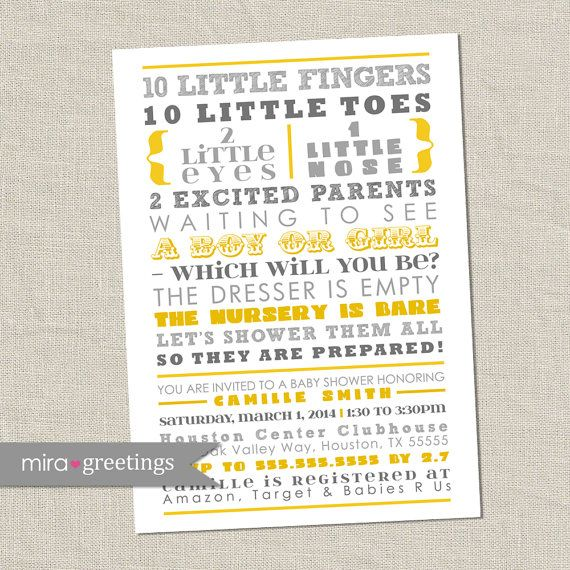 Hey, I found this really awesome Etsy listing at https://www.etsy.com/listing/176941347/gray-and-yellow-baby-shower-invitation