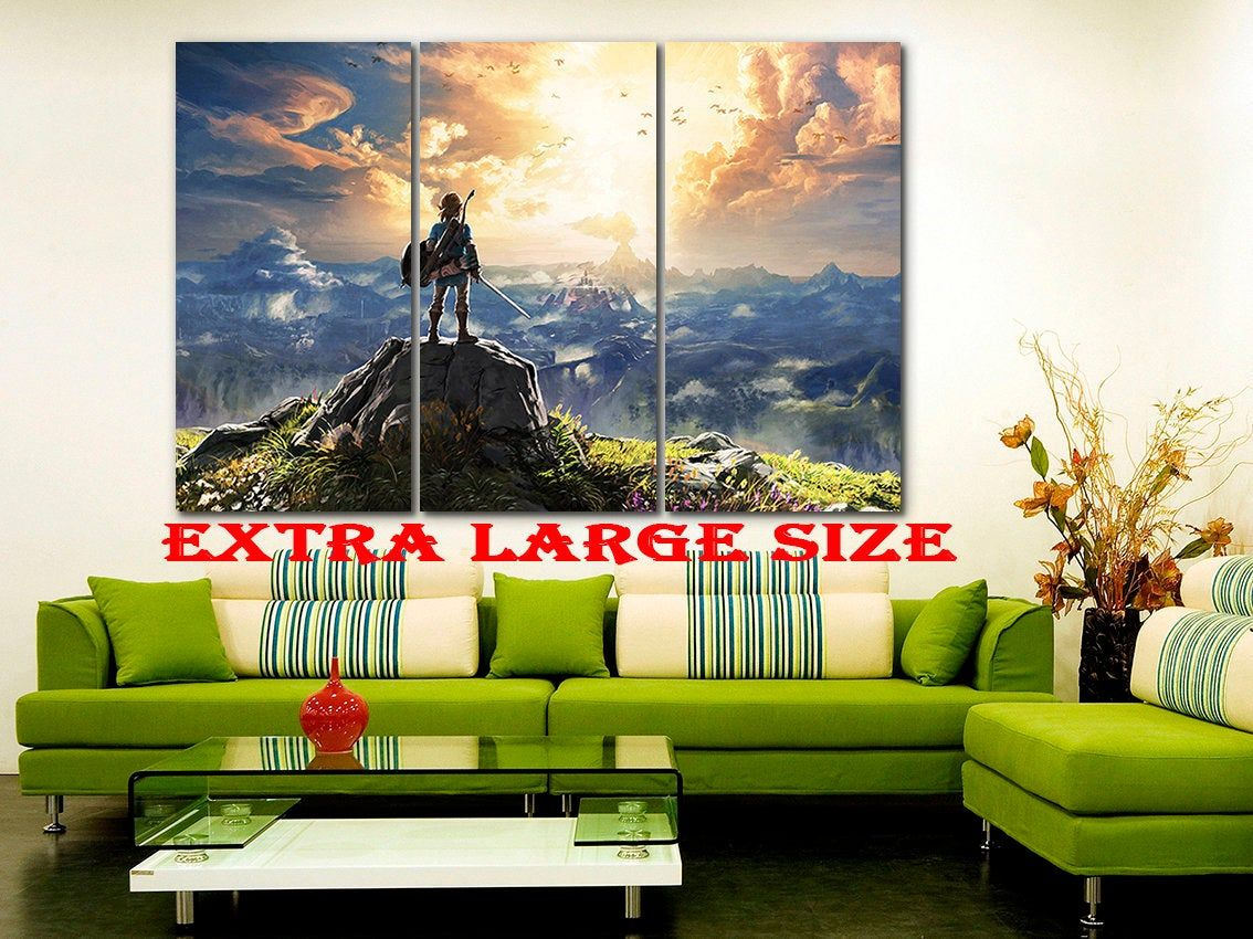 The Legend Of Zelda Canvas Zelda Decor Game Wall Art Video Etsy Gaming Wall Art Game Canvas Art Kid Room Decor