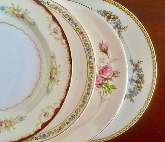4 Mismatched Vintage China Dinner Plates Weddings Bridal | Mismatched china | Pinterest | vintage China Mismatched china and China & 4 Mismatched Vintage China Dinner Plates Weddings Bridal ...