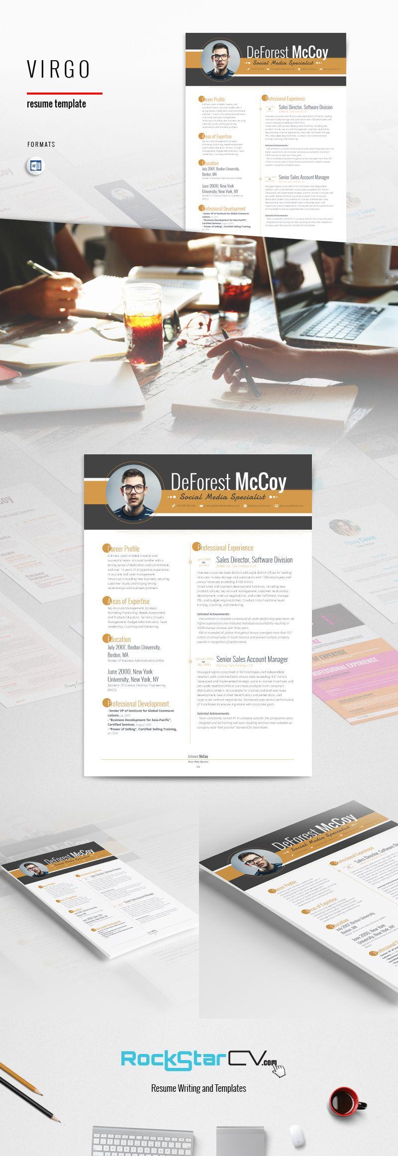 Modern Resume Format Cool Virgo Resume Template  Httprockstarcvproductvirgoresume Decorating Design