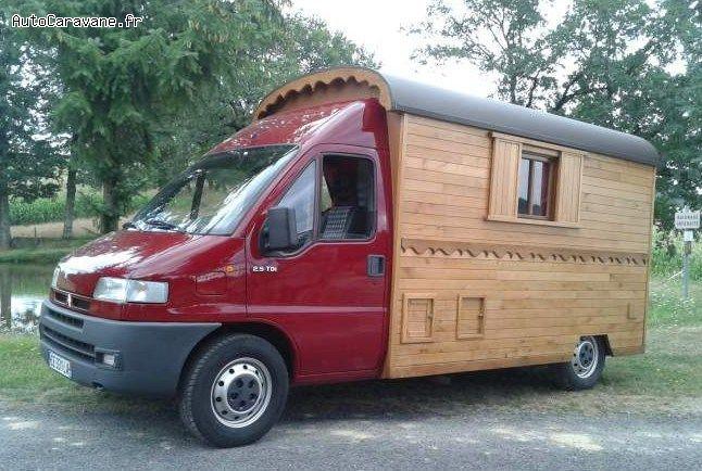 Souvent Camping-car façon roulotte, avec cellule en bois massif. | Camper  LO38