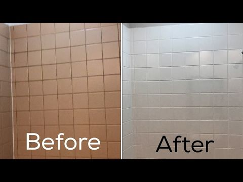 Refinishing Ceramic Tile In My Bathroom Before And After Youtube Painting Tile Painting Bathroom Tile Bathroom