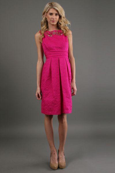 Bead Neck Dress in Fuchsia