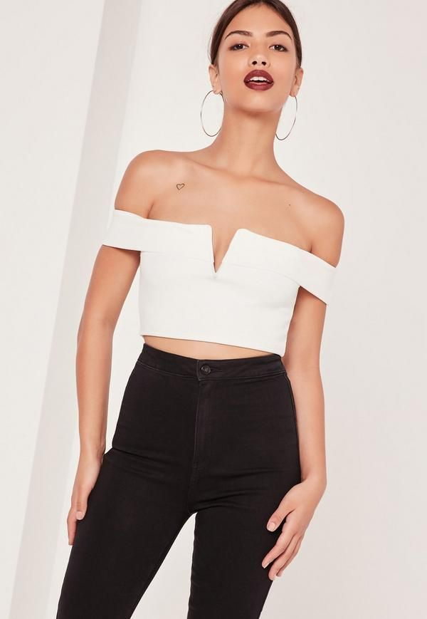 V Bar Bardot Crop Top White