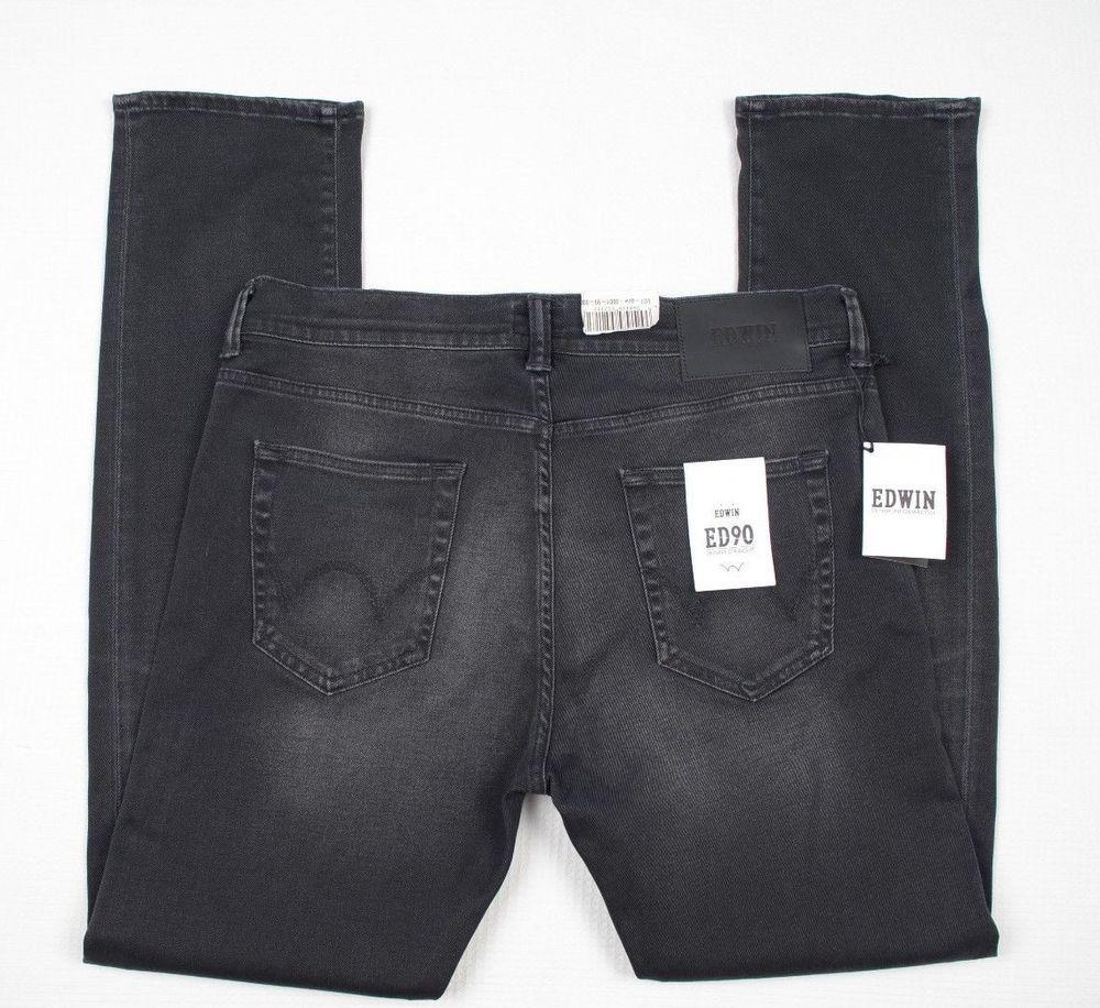 NEW EDWIN ED 90 Mens Slim fit Black jeans W34 L32 Japanese
