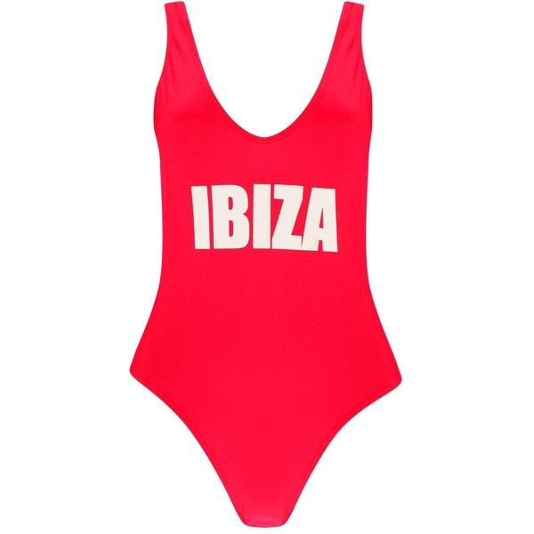 0f810259d612e Boohoo Petite Flora 'Ibiza' Slogan Swimsuit (90290 PYG) ❤ liked on Polyvore