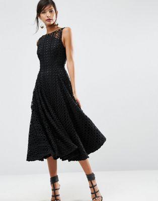 747d1206396 Черное кружевное платье миди для выпускного ASOS SALON