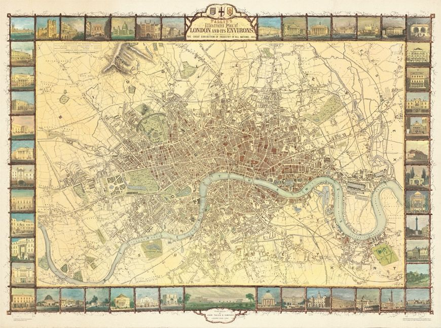 A reproduction of Tallis' Map produced for the Great Exhibition of 1851.  This map records the extent of London in the mid 19th century, with 48 views of prominent buildings in the margins. Available at the Museum of London or Stanfords.