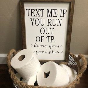 Photo of Text me if you run out TP framed wood funny bathroom sign | bathroom humor | farmhouse style bathroom decor