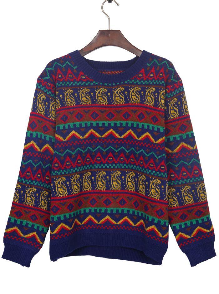 03c9b846eb51e7 Sapphire Blue Tribal Pattern Round Neck Jumper Sweater