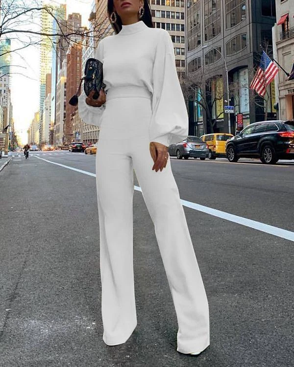 Long Sleeve Solid Elegant Jumpsuit in 2020 | Jumpsuit outfit, Casual jumpsuit, Casual outfits