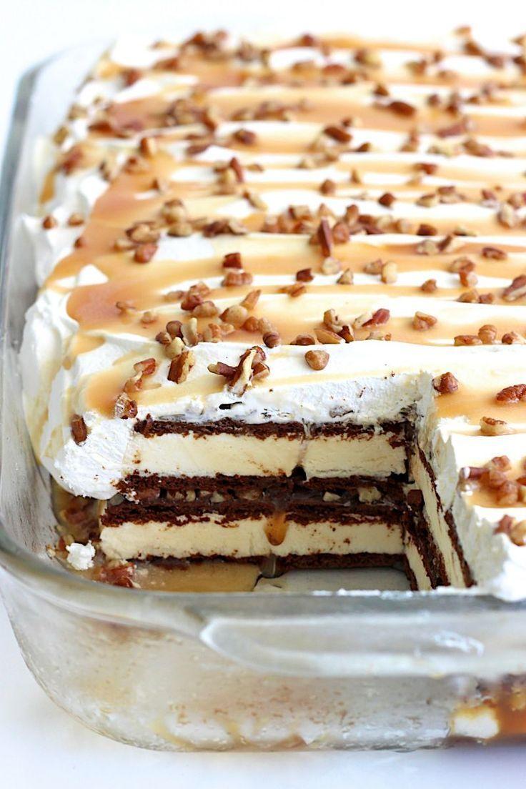 Caramel Pecan Ice Cream Sandwich Cake #icecreamsandwich