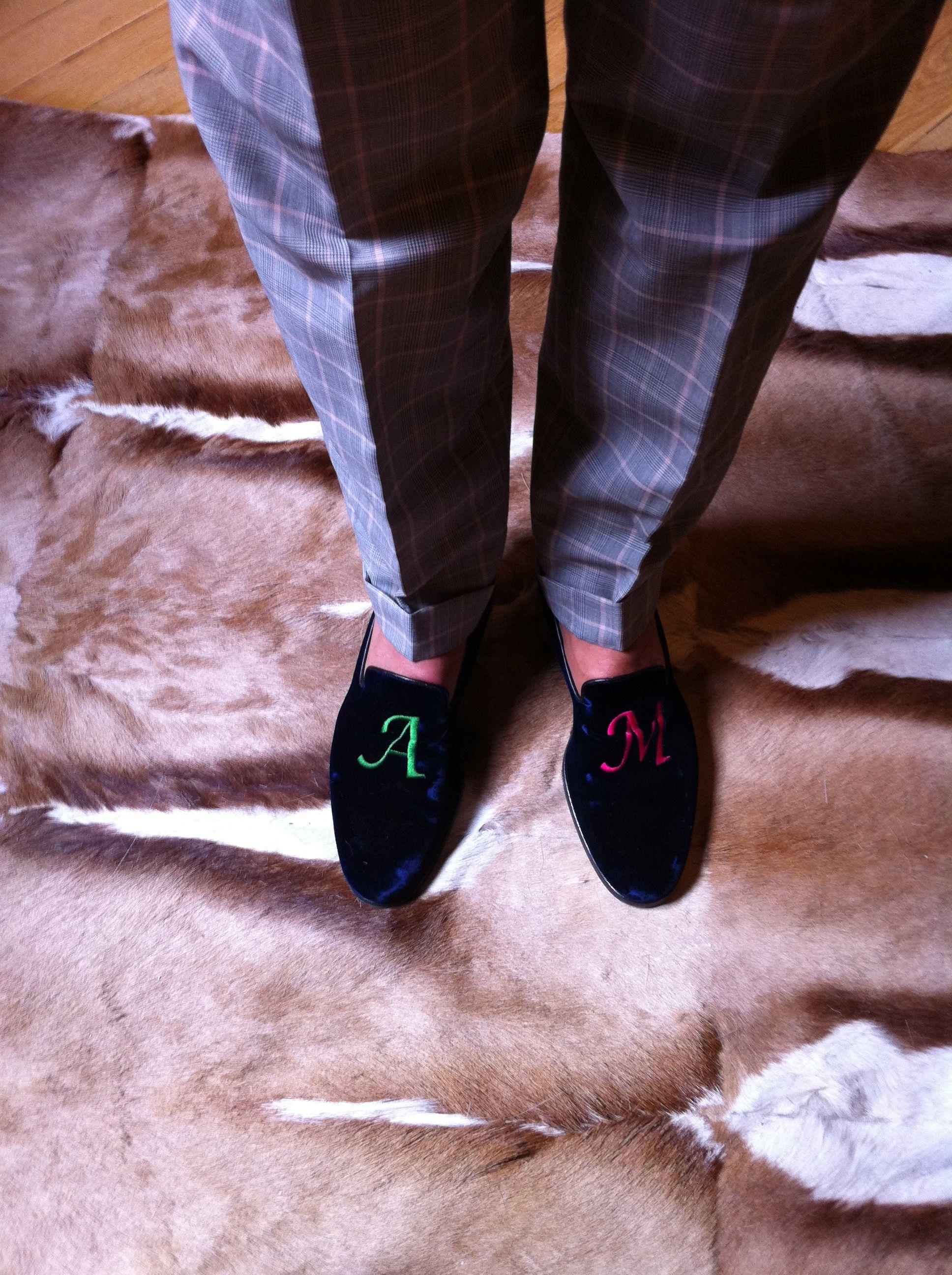 Alberto Moretti's monogram velvet loafers | shoes in 2019 ...