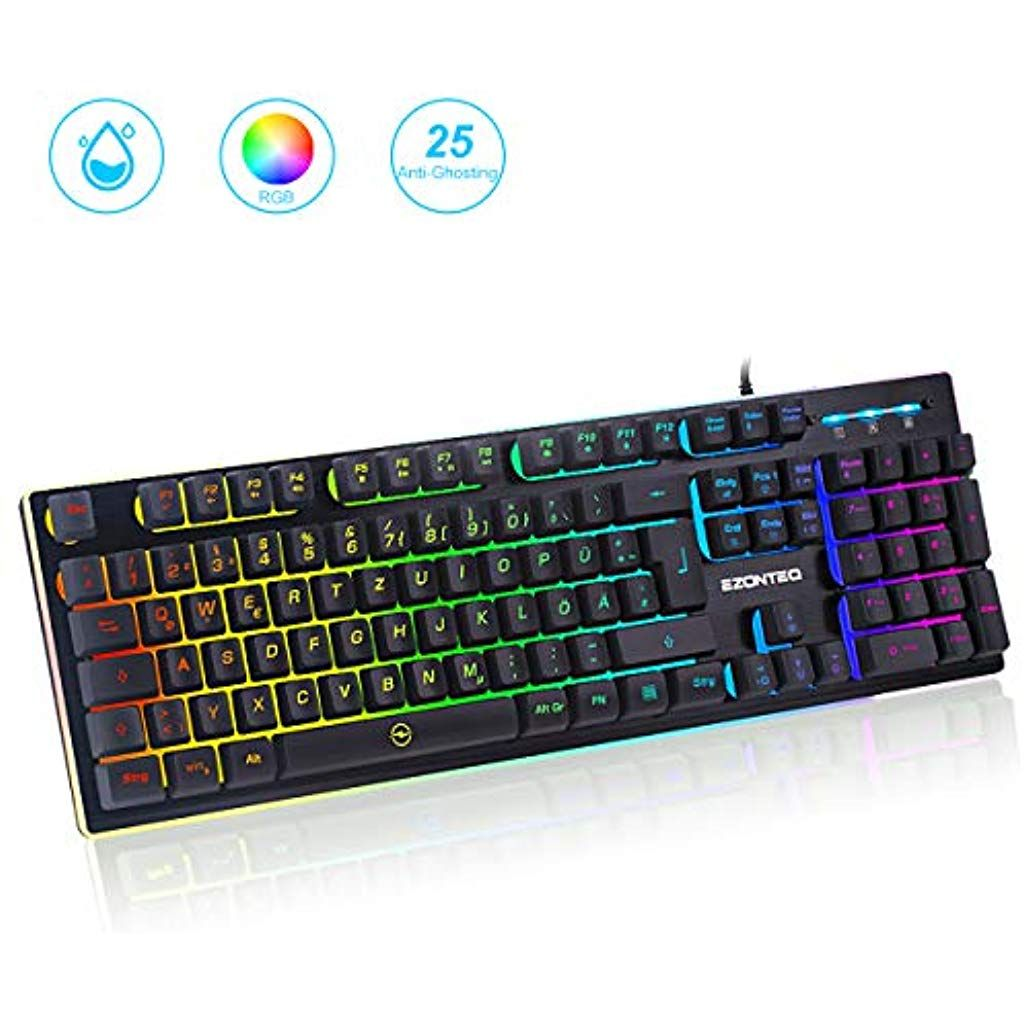 G010 Ergonomische Rgb Gaming Tastatur Wasserdicht Led Keyboard Tastenkappen Schwarz Gaming Tastaturen Fur Pc Bus Computer Electronic Products Computer Keyboard