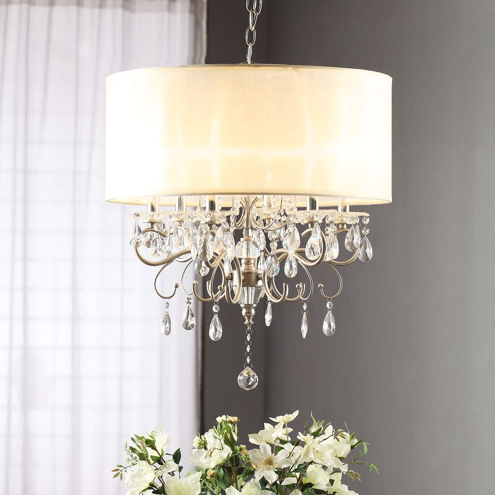 Silver Mist Hanging Crystal Drum Shade Chandelier by TRIBECCA HOME – Crystal Chandelier with Shade