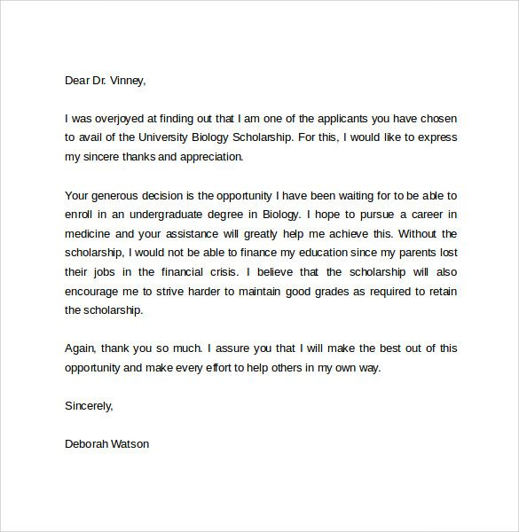 sample thank you letter for scholarship download free documents - scholarship thank you letter samples