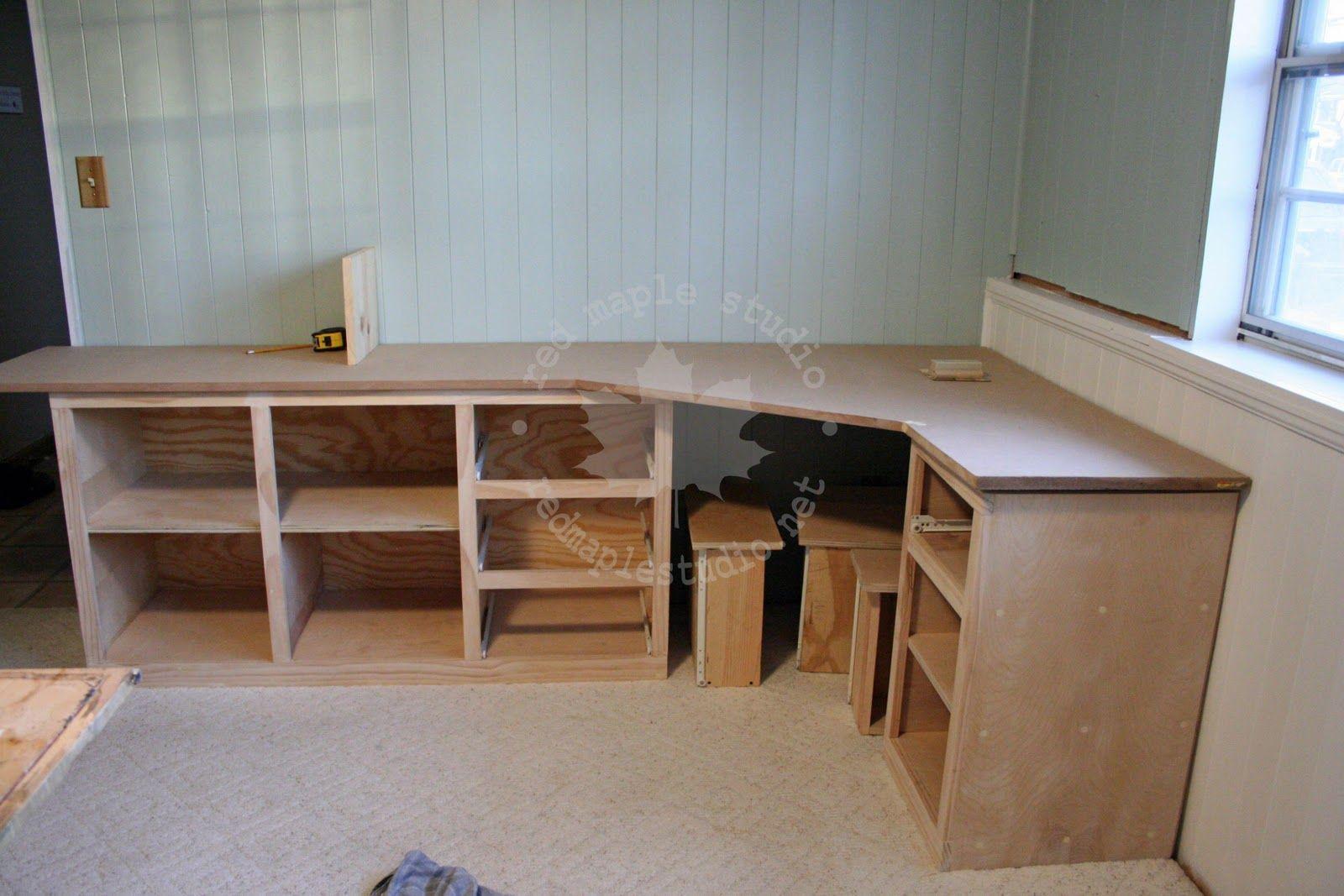 corner desks for art studio | This corner desk has no plans. We've made it up by looking up pictures ...