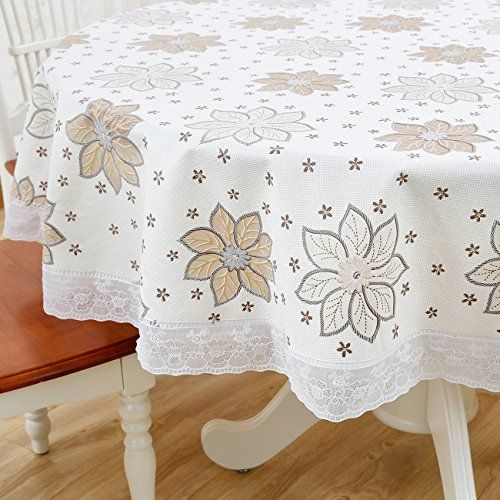 Round Vinyl Plastic Oilcloth Tablecloth Lace Wipeable Oil