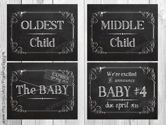 4 were expecting baby 4 chalkboard announcement printable files announcing baby pregnancy announcements 8x10