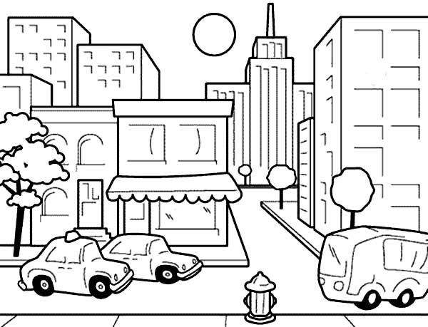 Drawing City Scenes Coloring Page For Kids Drawing City Scenes City Drawing City Scene Coloring Pages