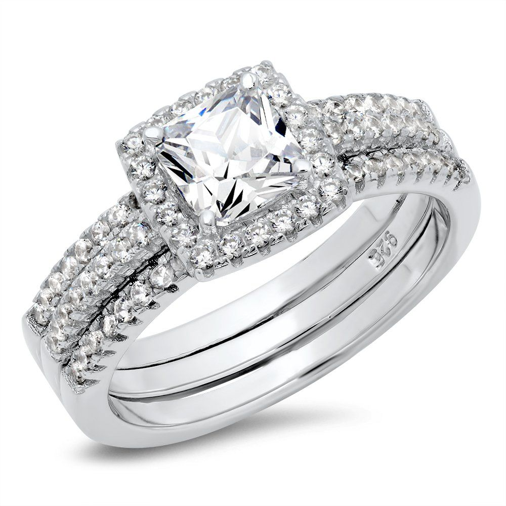 925 Sterling Silver Cushion Cubic Zirconia CZ 2Pc Halo