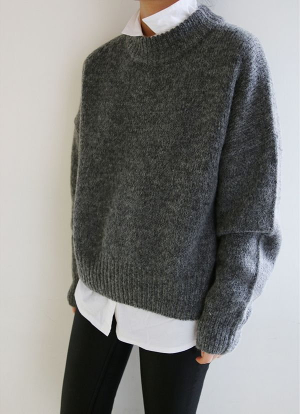 TOP: white button down   gray heavy sweater PANTS: black skinny ...