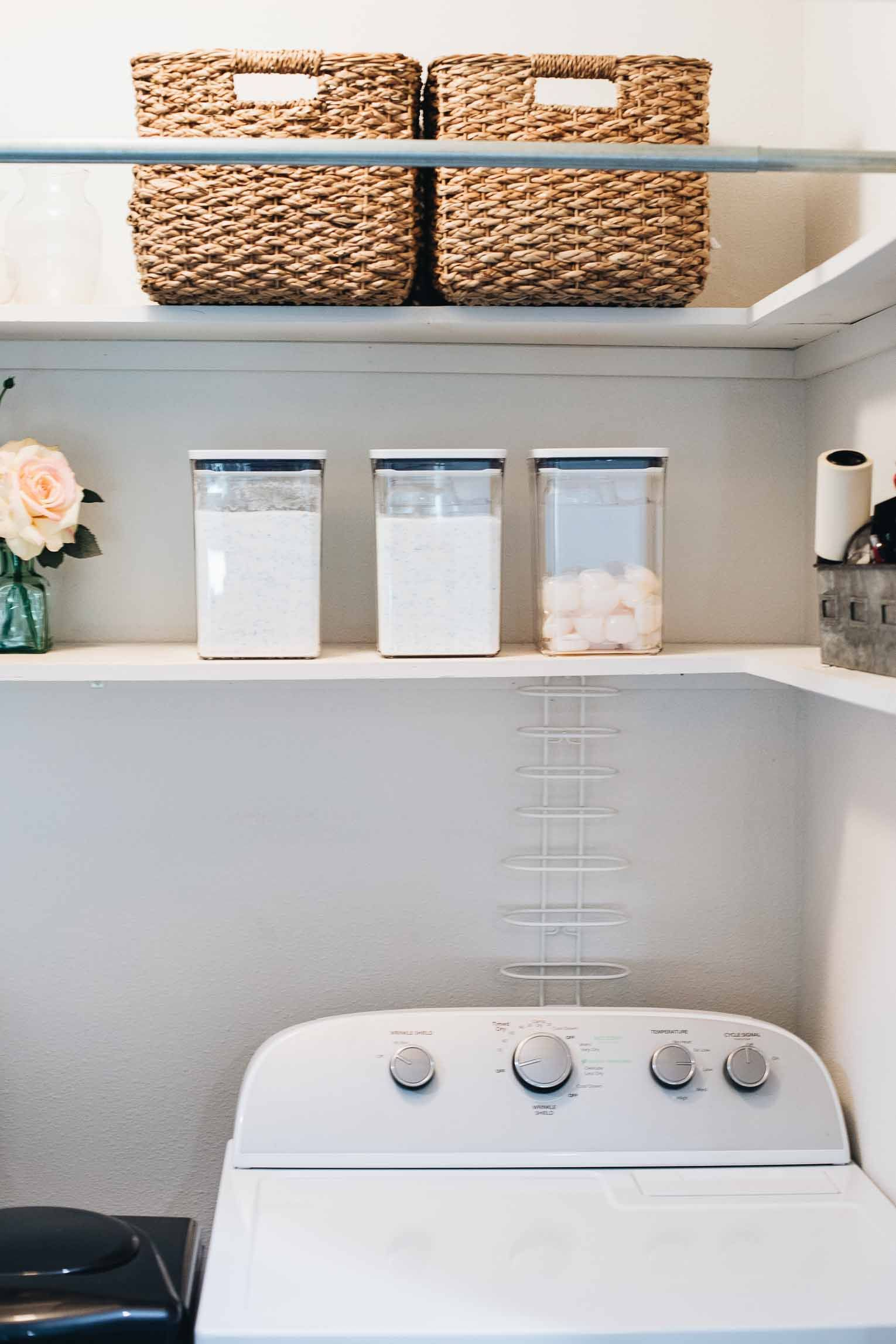 Need to organize your small laundry space? Here are 15 of our best laundry closet organization ideas!    #organizedlaundryroom #laundryclosetorganization #smalllaundrysolutions #laundryorganizationideas #smalllaundryorganization #tidylaundryroom