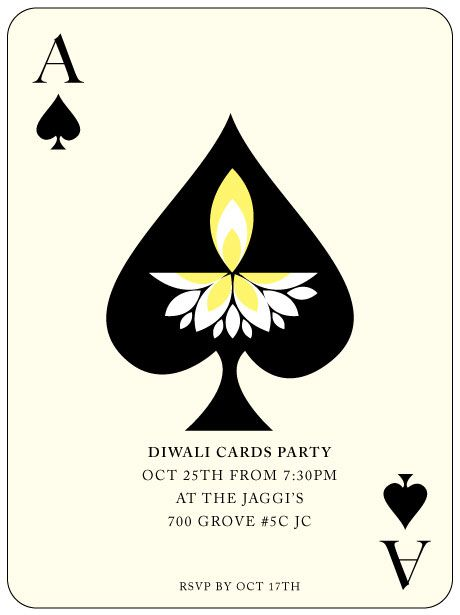 An invite for a cards party during Diwali, an Indian Festival of