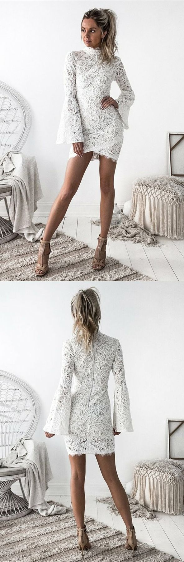 Sheath high neck long bell sleeves short ivory lace homecoming dress