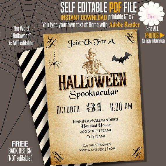 Halloween Invitation Spooktacular Party Halloween Party Invite Printable Self Editable P Halloween Invitations Halloween Party Invitations Party Invitations