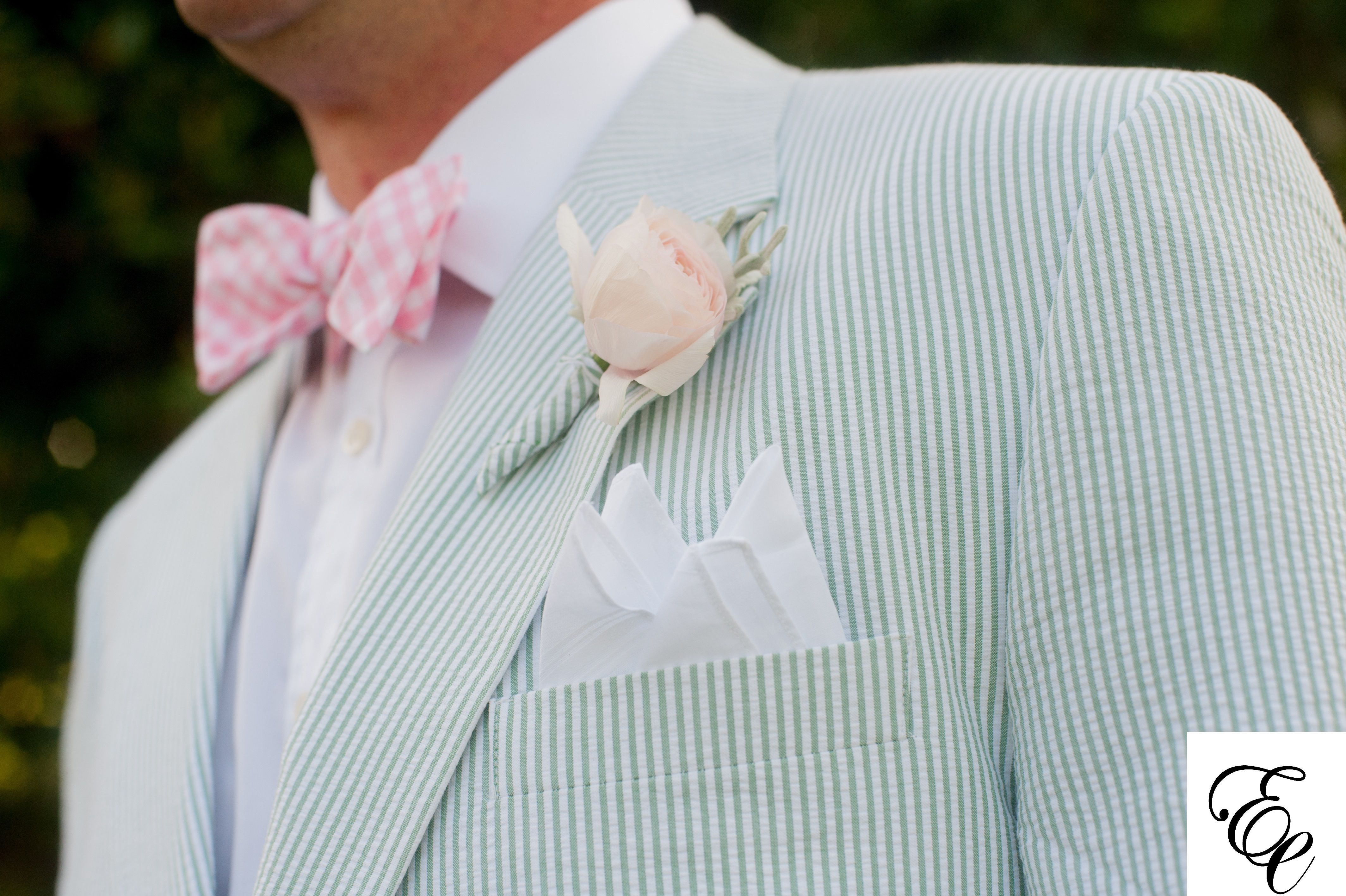 Pale Pink Rose Boutonniere wrapped in seersucker fabric to match the ...